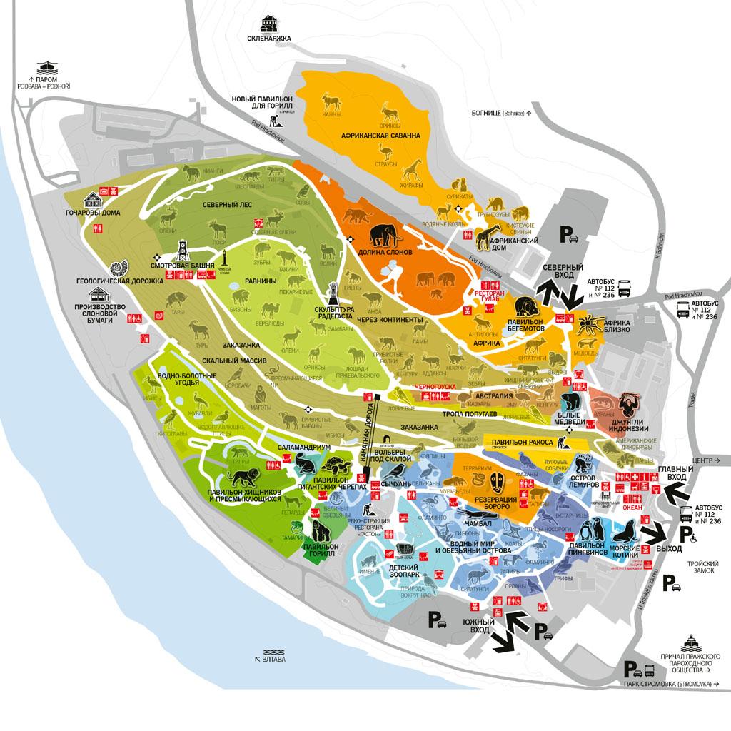 Карта Пражского зоопарка
