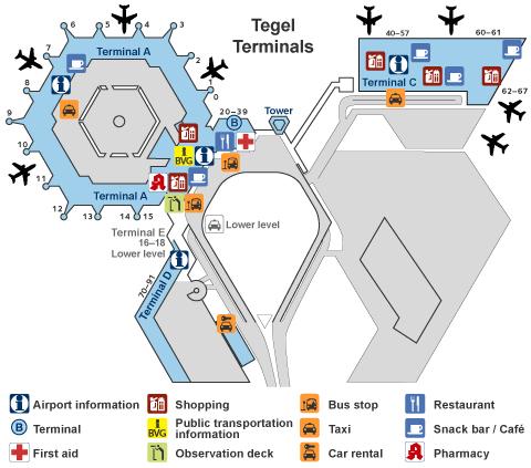 Схема аэропорта Тегель, Берлин