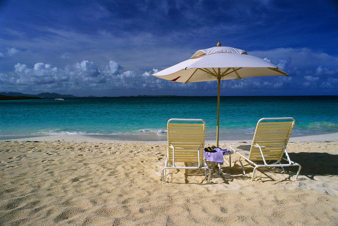 Umbrella and Chairs on the Beach