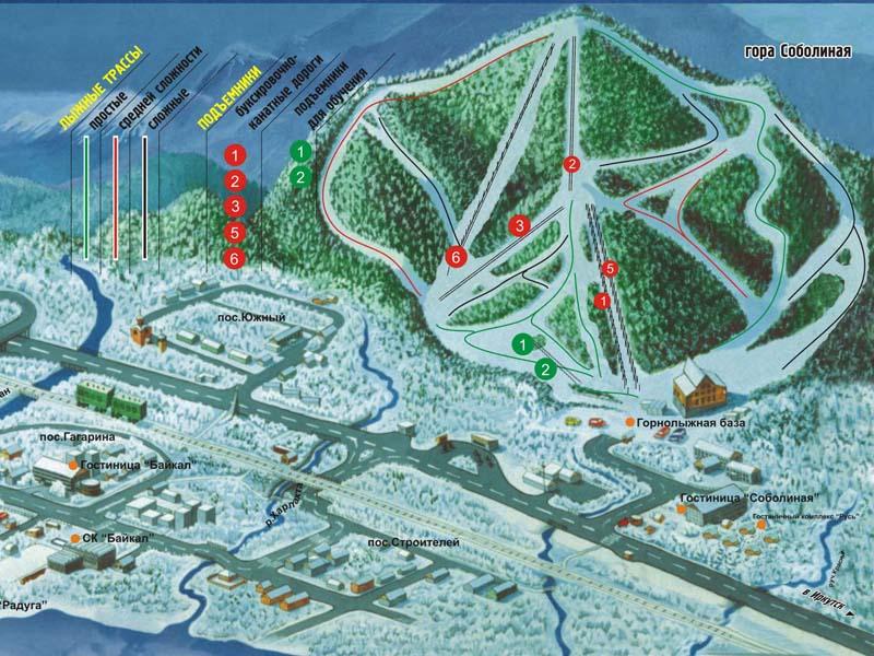 Карта трасс курорта Гора Соболиная