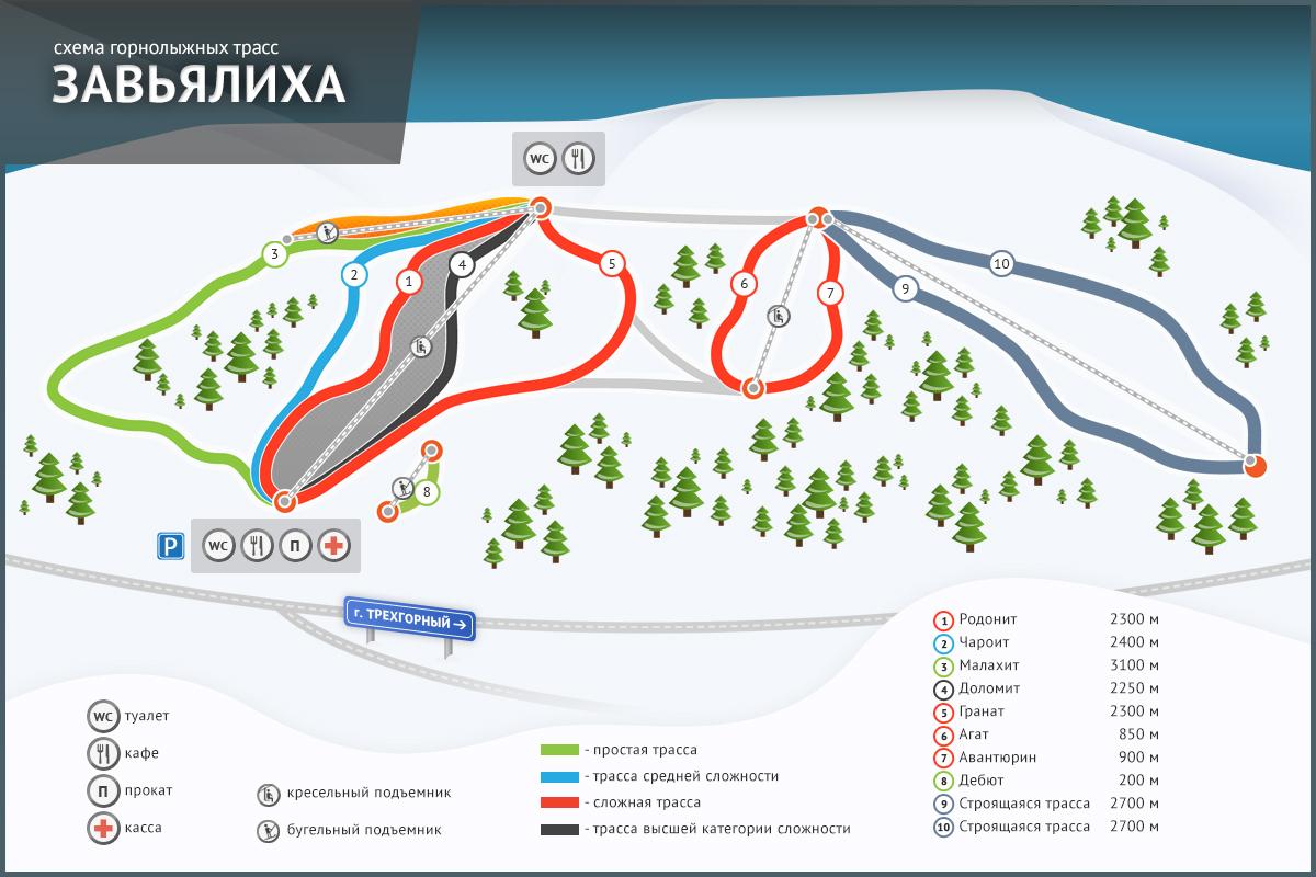 Карта трасс курорта Завьялиха
